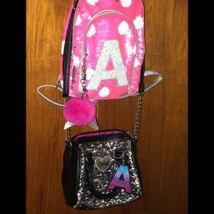 Lot of girls 'A' book bag purse & crossbody purse